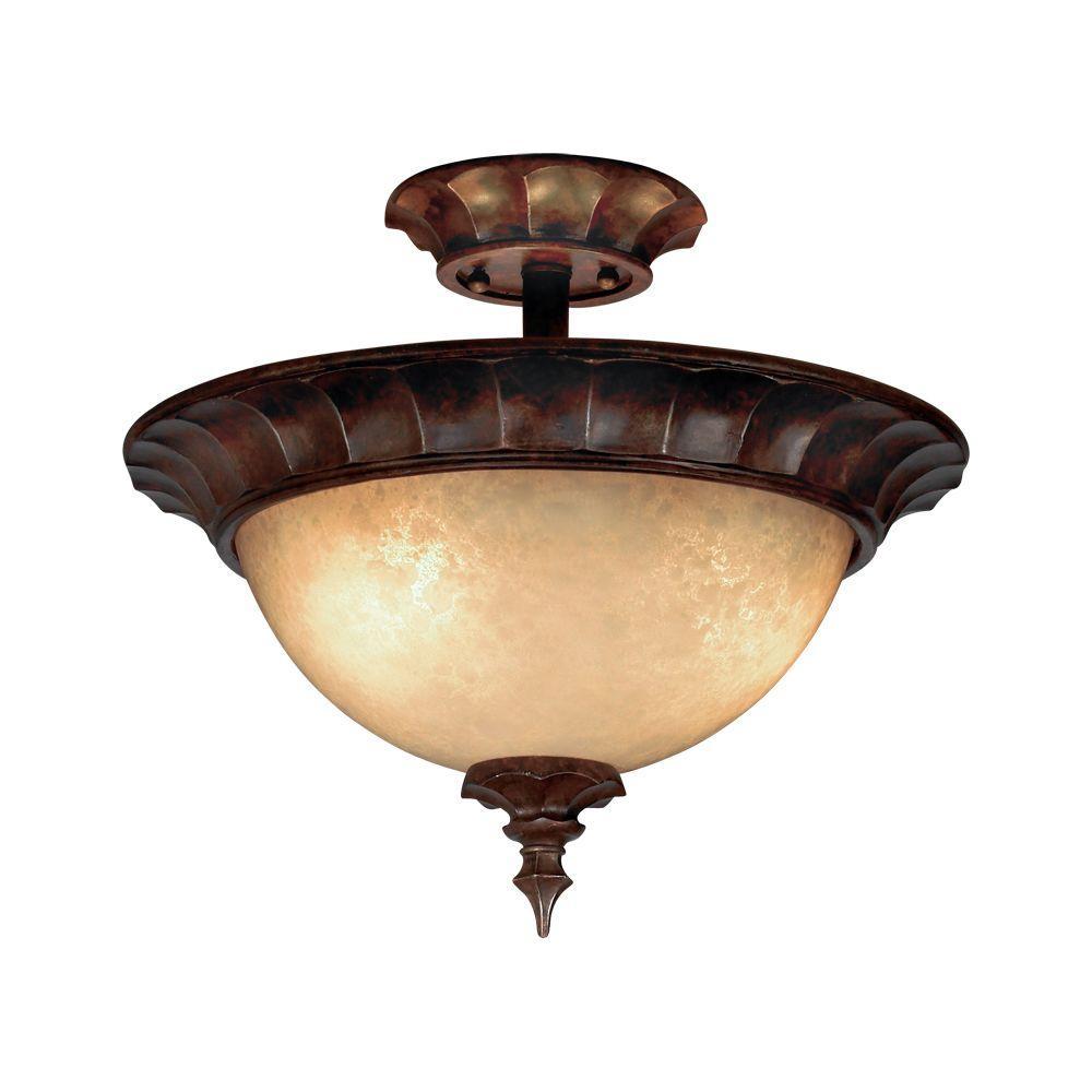 Eurofase Tiverton Collection 3-Light Semi-Flush Mount Antique Rust Light