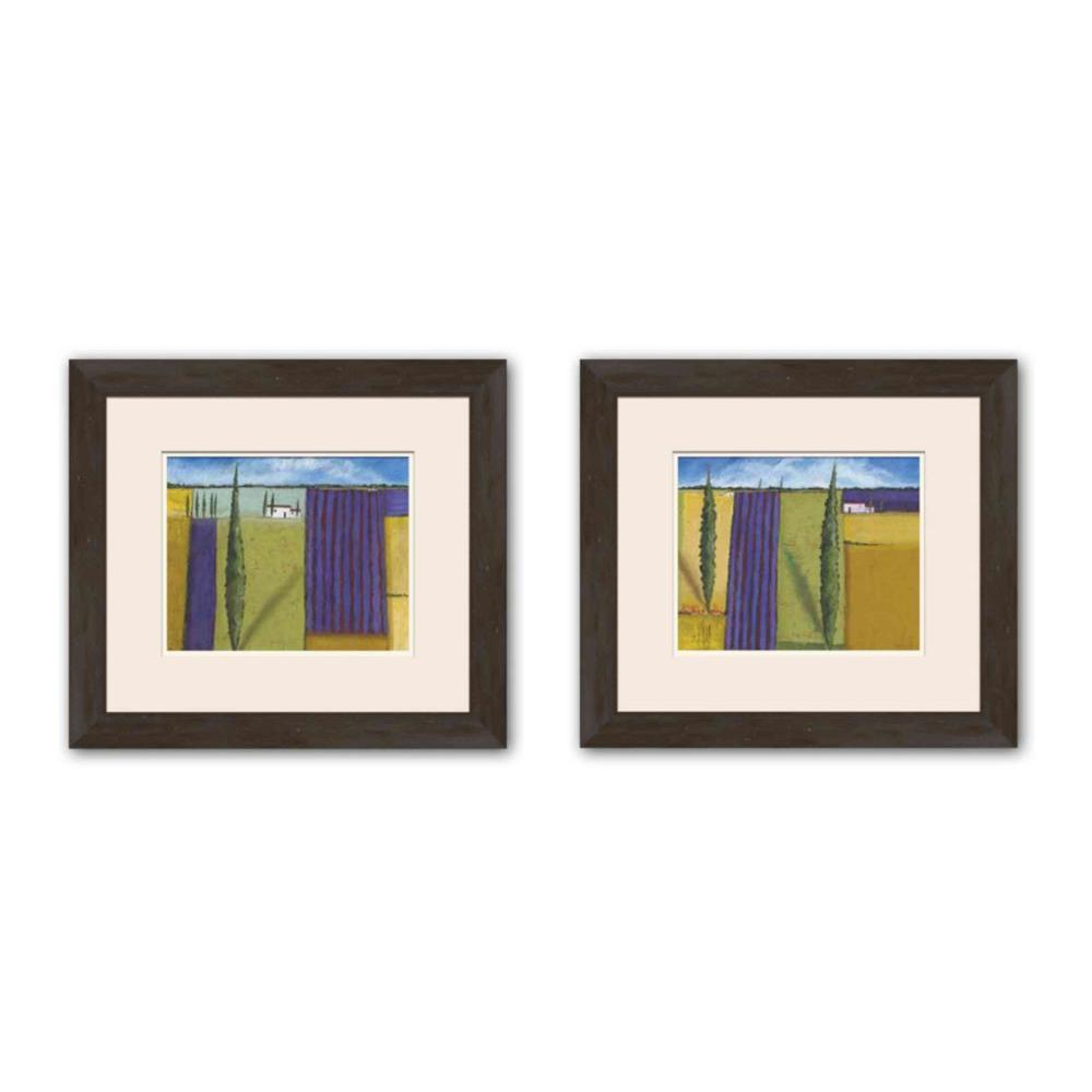 """PTM Images 16.5 in. x 18.5 in. """"Abstract Land"""" Double-Matted Framed Wall Art (Set of 2)"""