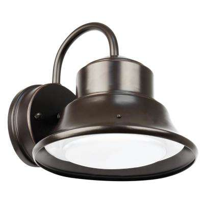 8 in. 12-Watt Bronze Outdoor Integrated LED Security Area Wall Pack Light with Dusk to Dawn Photocell Sensor