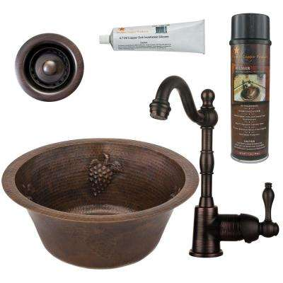 All-in-One Dual Mount Copper 16 in. 0-Hole Round Bar/Prep Sink in Oil Rubbed Bronze with Grapes