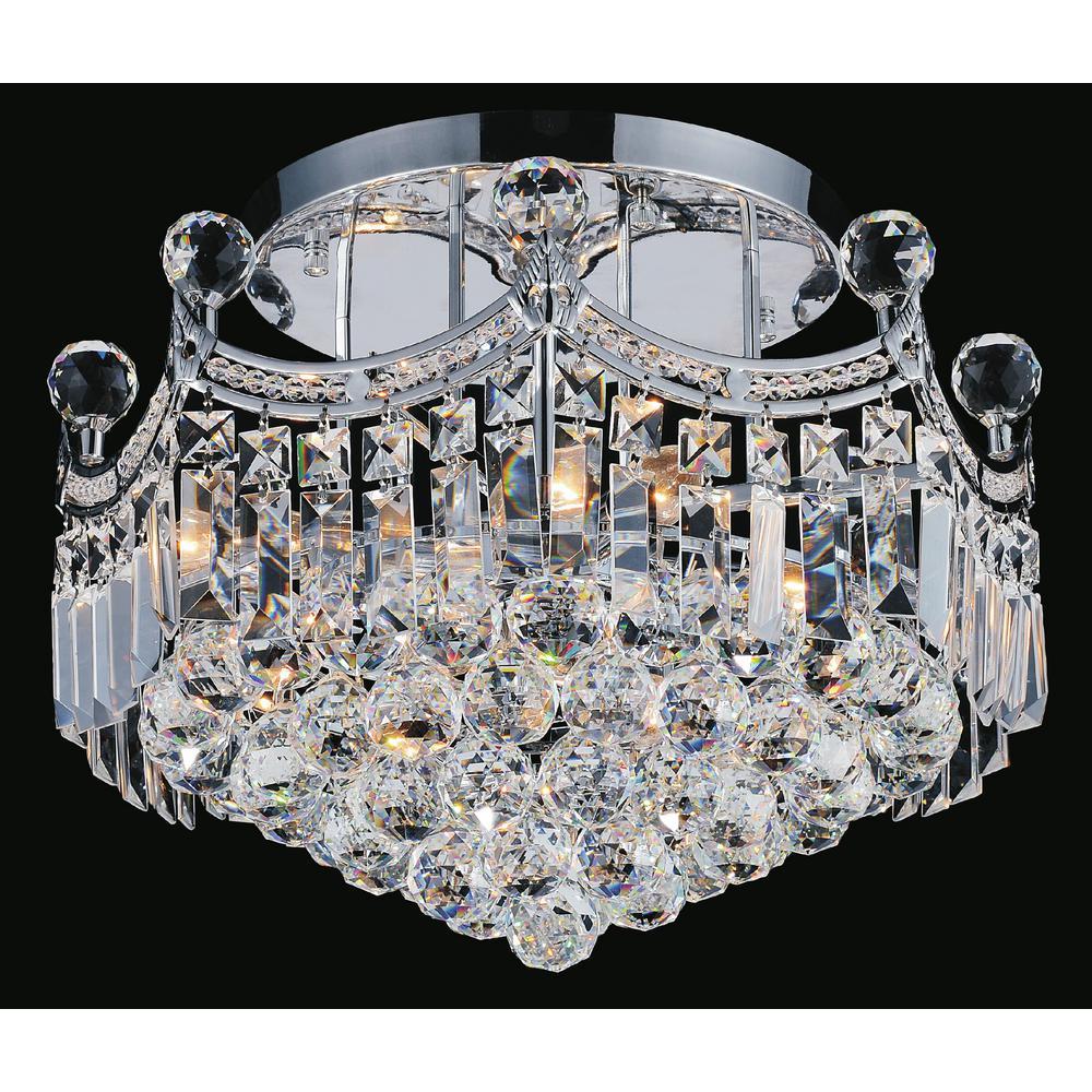 Crystal World Amanda 4-Light Chrome Semi-Flush Mount