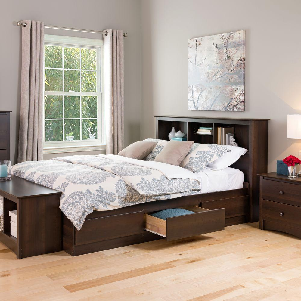 prepac fremont queen wood storage bed - Queen Bedroom Frames