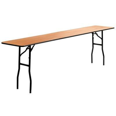 96 in. Natural Wood Tabletop Metal Frame Folding Table