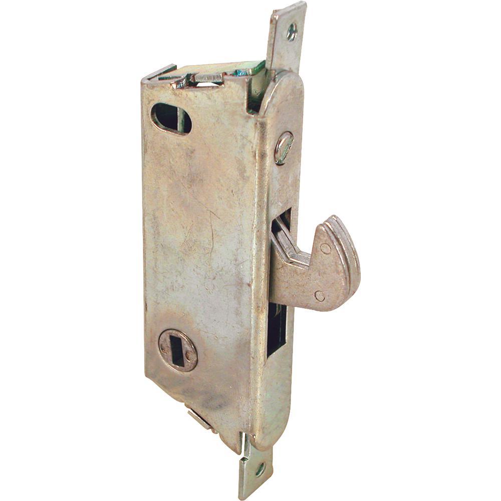 Prime-Line 3-11/16 in  Sliding Patio Door Mortise Lock with Vertical  Keyway, Round Faceplate