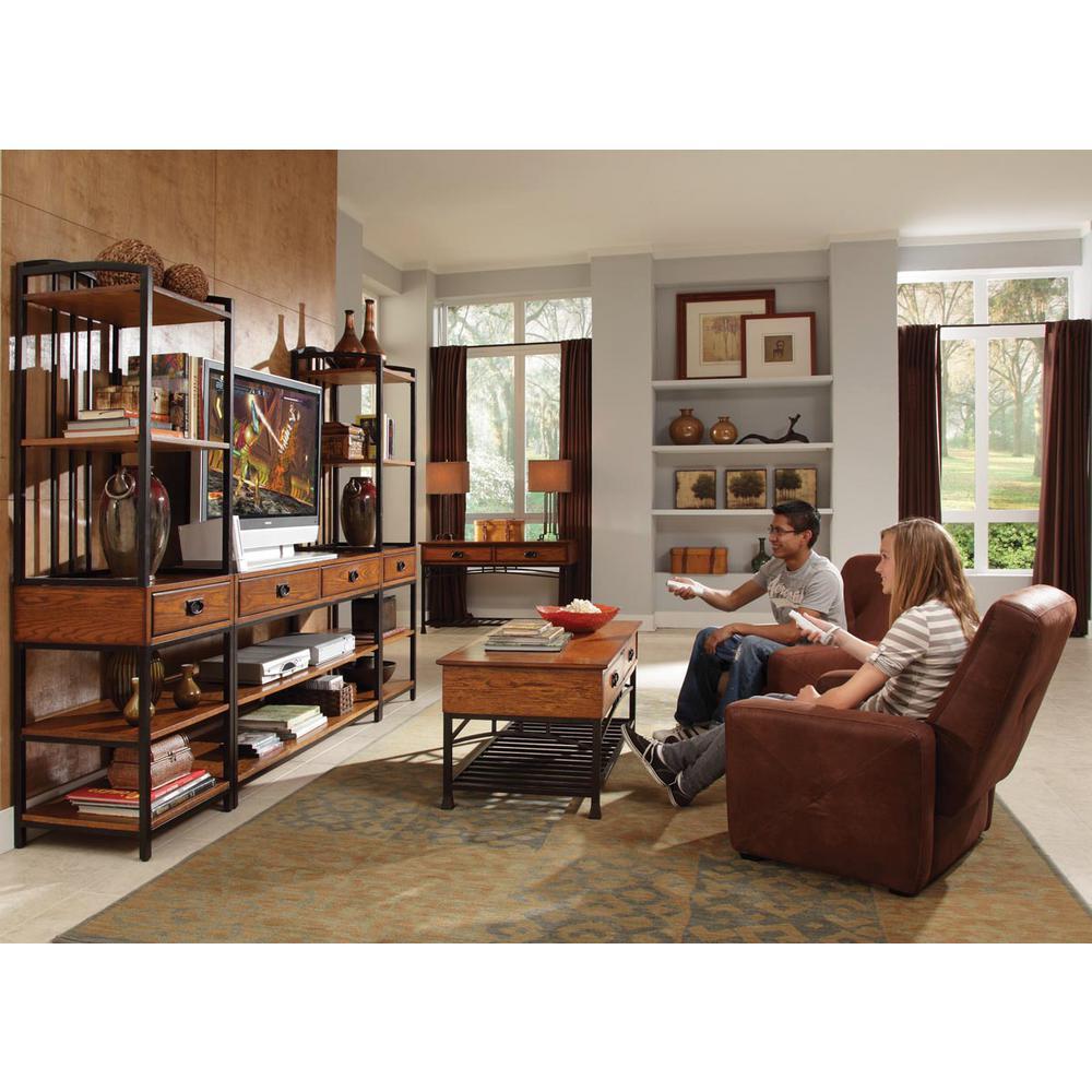 Home Styles Modern Craftsman Distressed Oak Entertainment Center