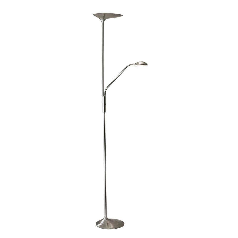 Adesso Trio 68 In Steel Floor Lamp 4305 22 The Home Depot