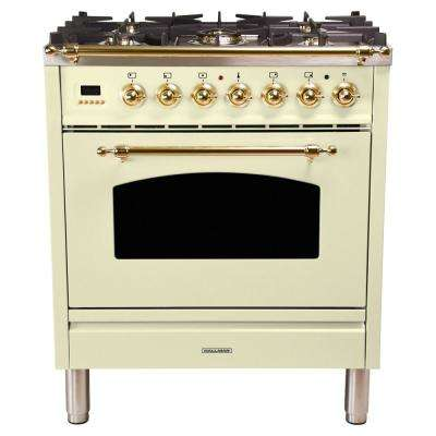 30 in. 3.0 cu. ft. Single Oven Dual Fuel Italian Range with True Convection, 5 Burners, Brass Trim in Antique White
