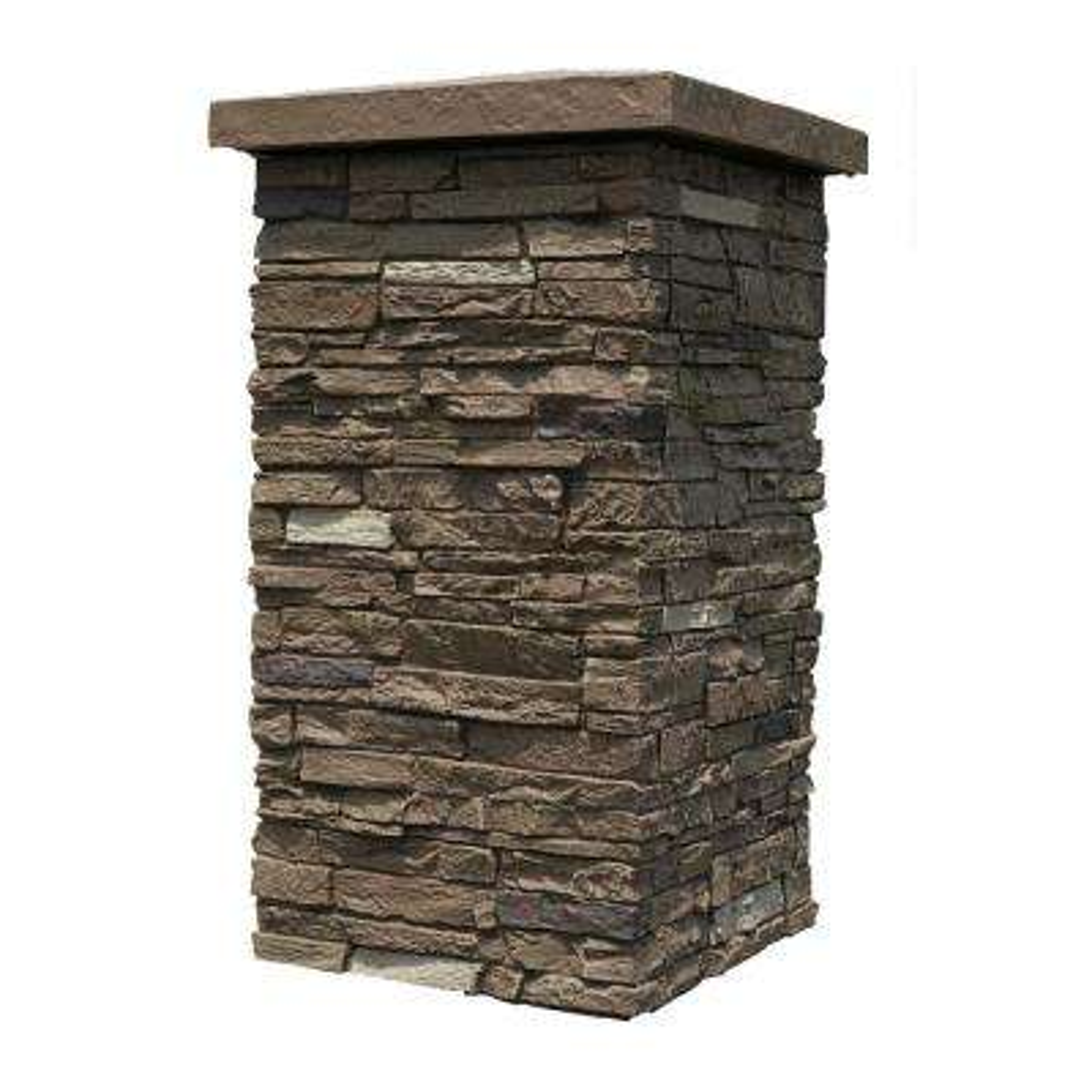 Slatestone Brunswick Brown 30 in. x 16 in. Faux Polyurethane Stone Column Wrap (4-Piece)