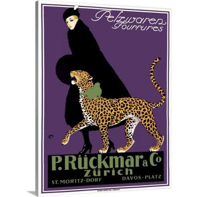 """French Ruckmar Leopard Fashion Vintage Advertising Poster"" by ArteHouse Canvas Wall Art"