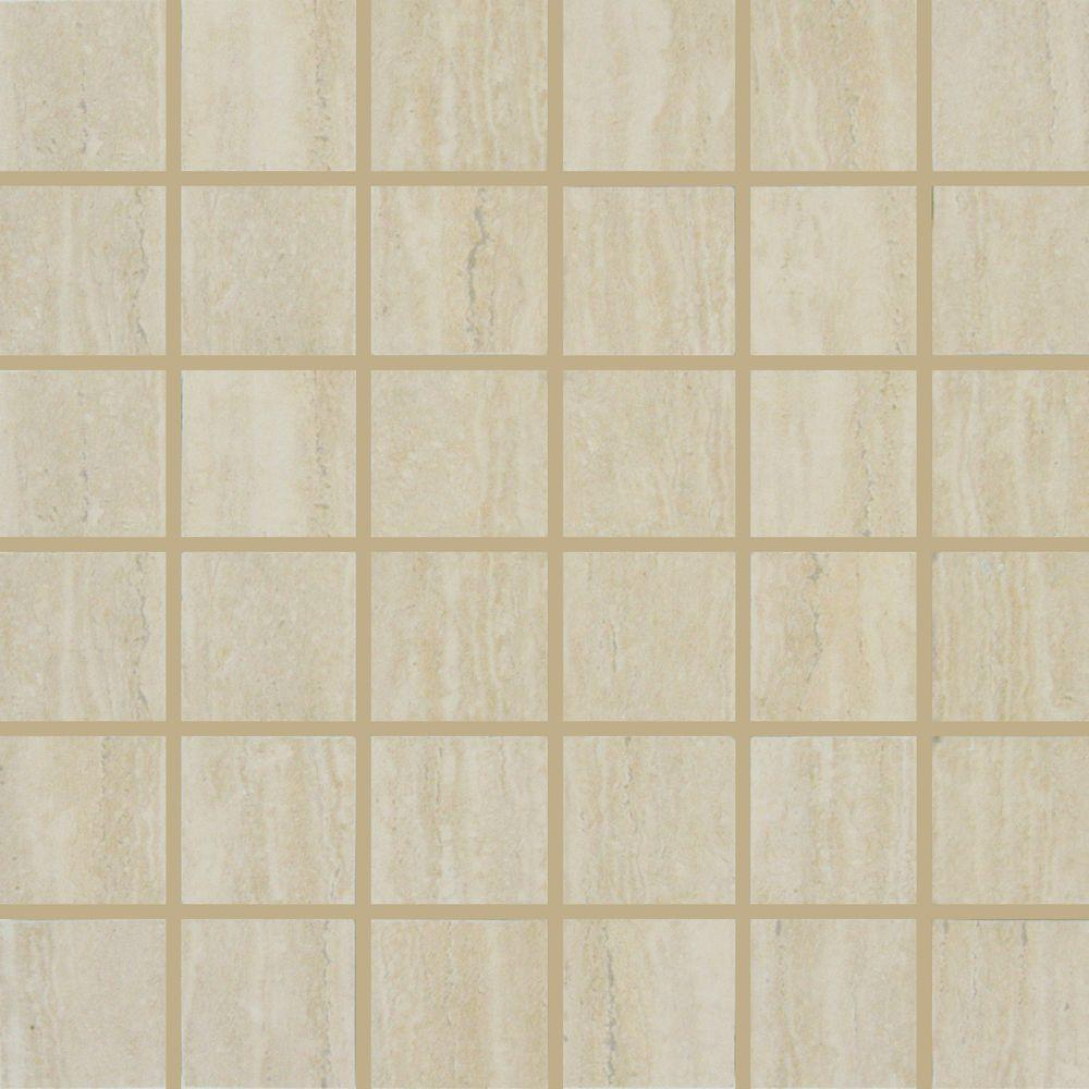 MS International Travertino Romano 12 in. x 12 in. x 10 mm Porcelain Mesh-Mounted Mosaic Tile