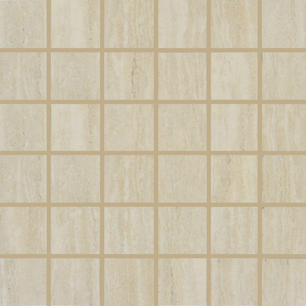 MSI Travertino Romano 12 in. x 12 in. x 10 mm Porcelain Mesh-Mounted Mosaic Tile
