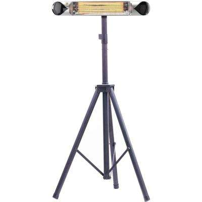35.4 in. 1500-Watt Infrared Electric Patio Heater with Remote Control and Tripod Stand in Silver/Black