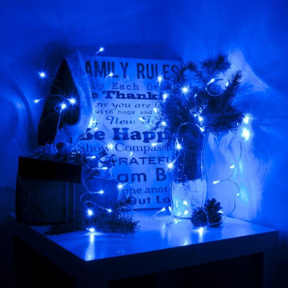 30 Light Led Blue Battery Operated String Lights