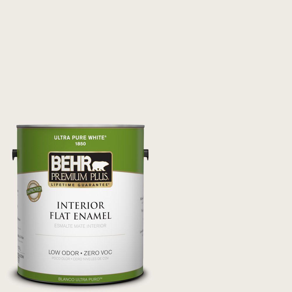 BEHR Premium Plus 1-gal. #PWN-51 Villa White Zero VOC Flat Enamel Interior Paint-DISCONTINUED