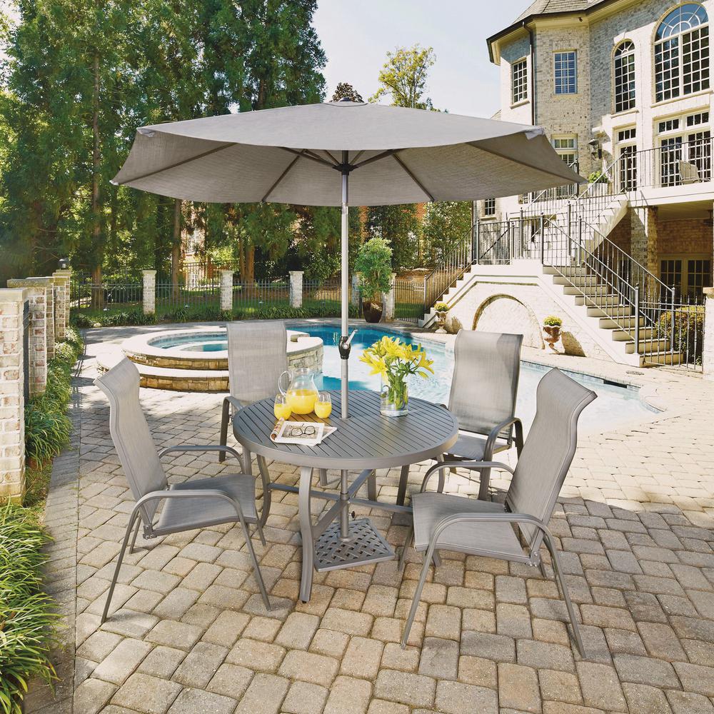 Nice Daytona Charcoal Gray 7 Piece Aluminum Round Outdoor Dining Set