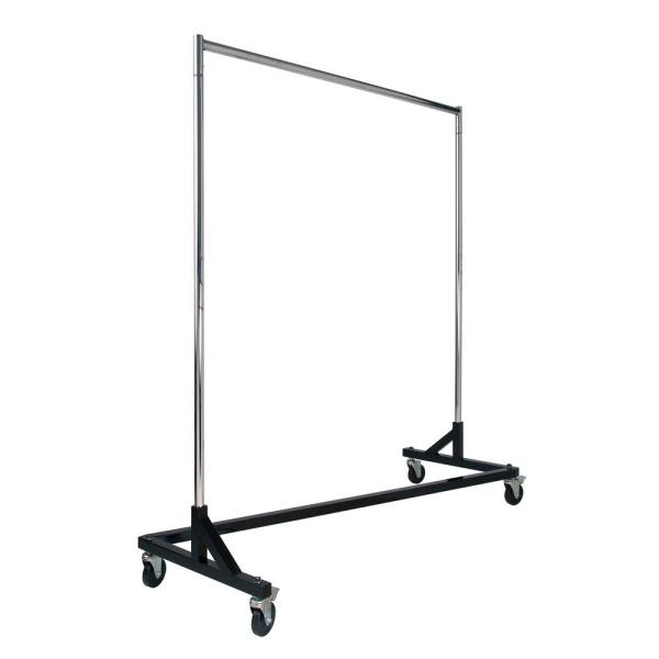 Chrome & Black Steel Clothes Rack with Wheels (64 in. W x 70 in. H)