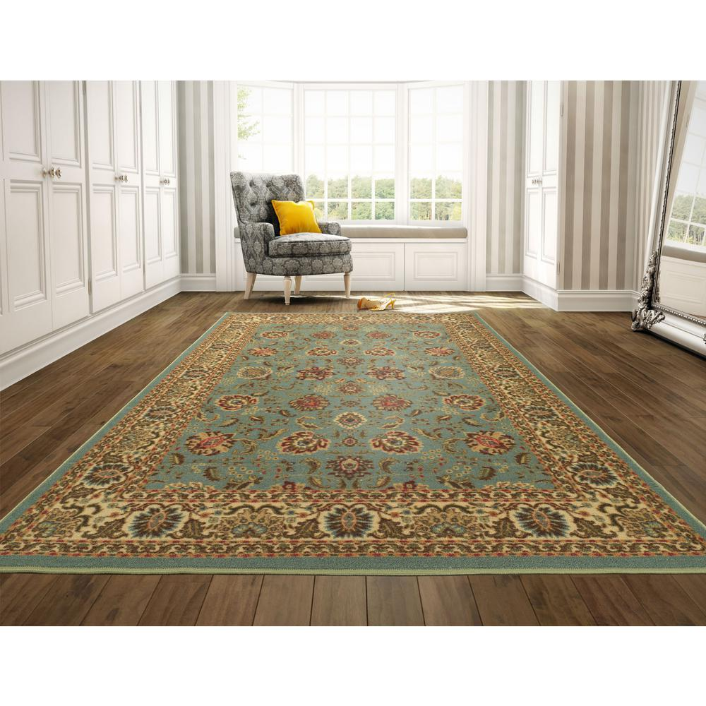 Ottohome Collection Persian Oriental Design Sage Green 8 Ft. 2 In. X 9 Ft