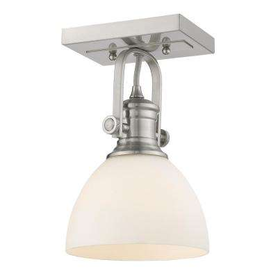 Hines 6.88 in. 1-Light Pewter with Opal Glass Semi-Flush Mount