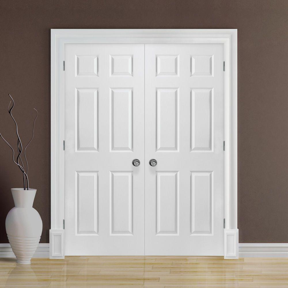 buy popular f4042 cc8a3 Masonite 60 in. x 80 in. 6-Panel Primed White Hollow-Core Textured  Composite Prehung Interior French Door