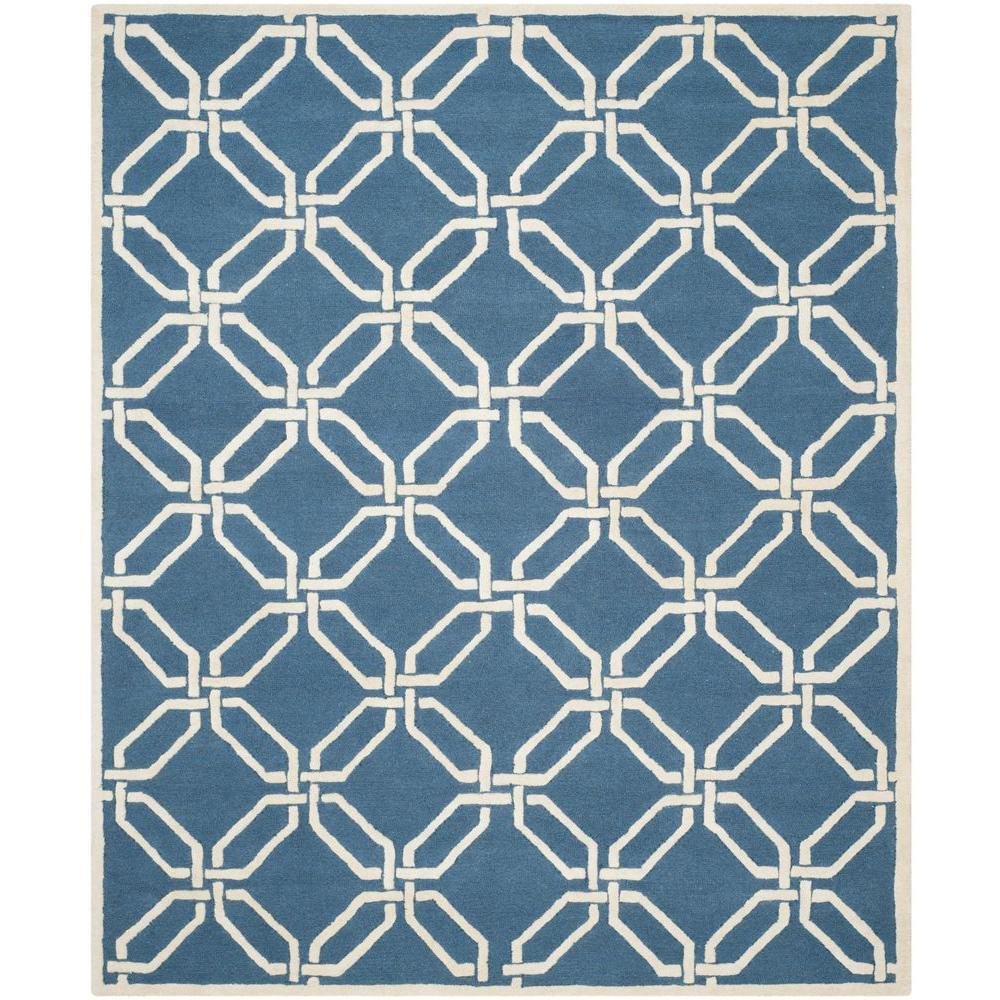 Safavieh Cambridge Navy Ivory 8 Ft X 10 Ft Area Rug Cam311m 8 The Home Depot