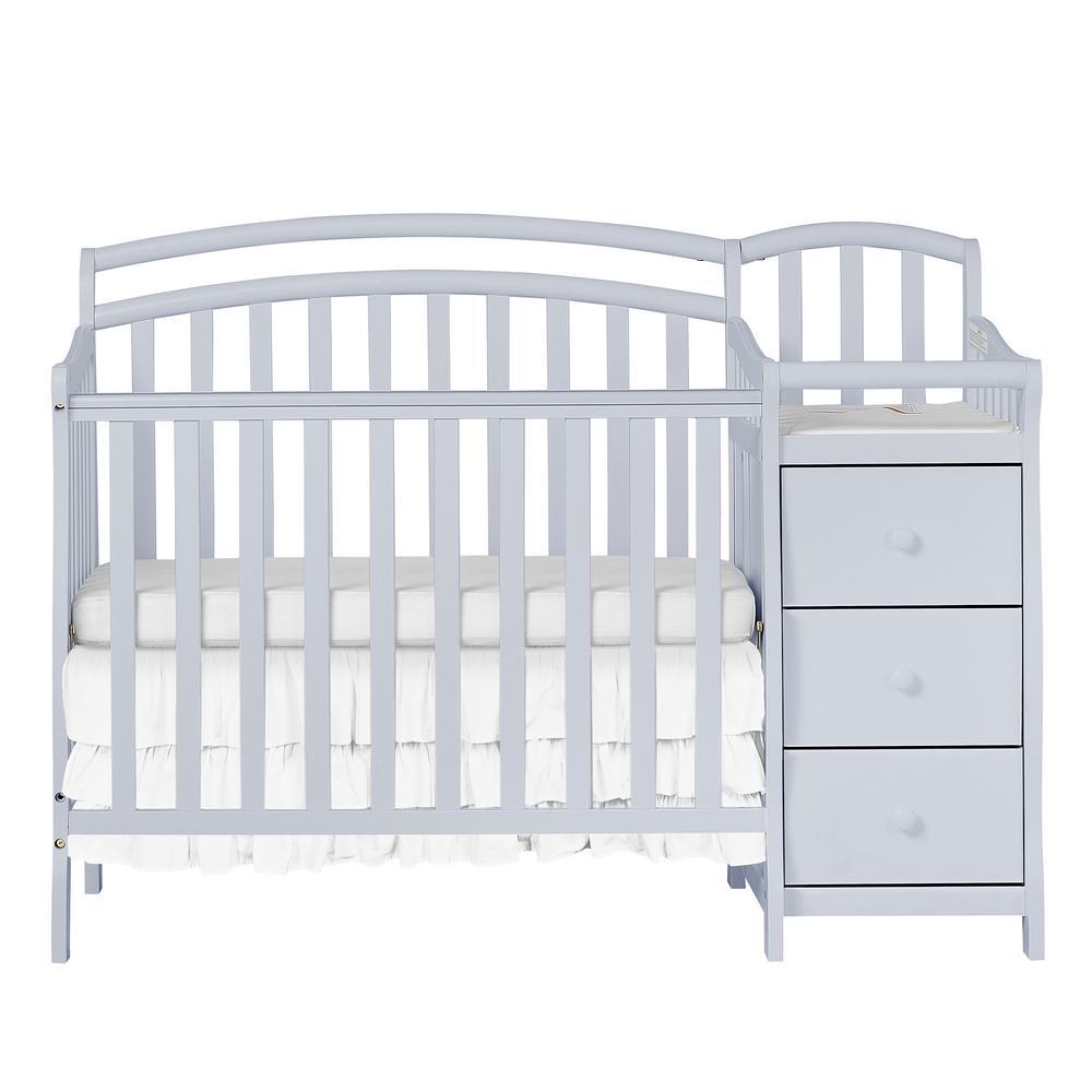 Dream On Me Casco 3-in-1 Mini Crib & Changer in Grey Pebble