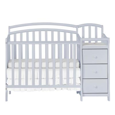 Casco 4-in-1 Pebble Grey Mini Crib and Changing Table
