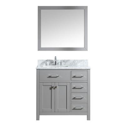 Virtu USA Caroline Parkway 36 in. W Bath Vanity in Cashmere Gray with Marble Vanity Top in White with Square Basin and Mirror