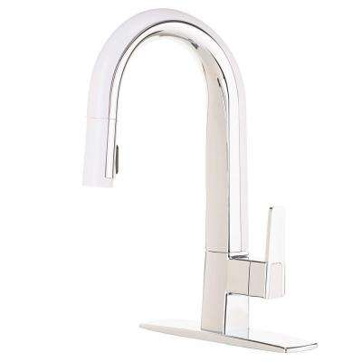 Matisse Single-Handle Pull-Down Sprayer Kitchen Faucet in Chrome and White