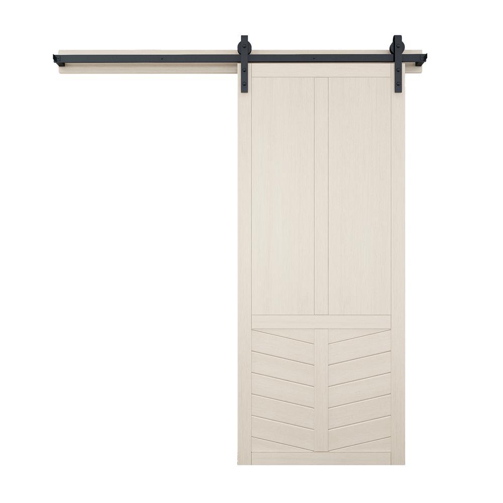 42 in. x 84 in. The Robinhood Wood Barn Door with Sliding Door Hardware Kit