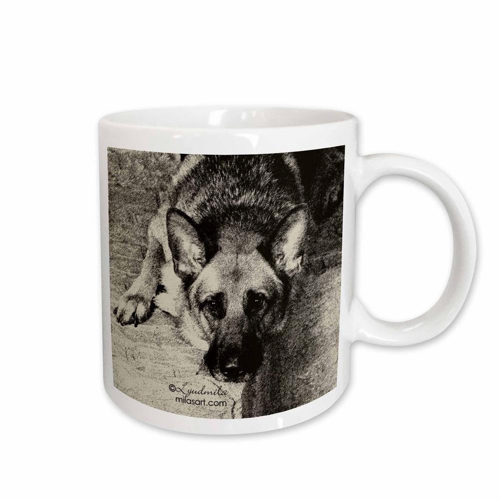 Milas Art Dogs 11 oz. White Ceramic German Shepherd Mug
