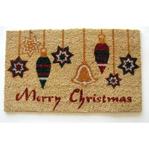 Printed Ornaments with Merry Christmas 18 inch x 30 inch Coir with PVC Backing Doormat by