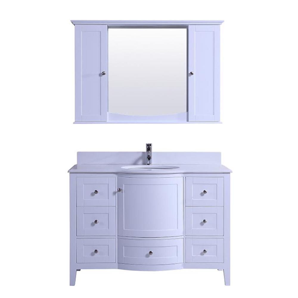 Kokols Vanity White Quartz Vanity Top White Round Basin Mirror