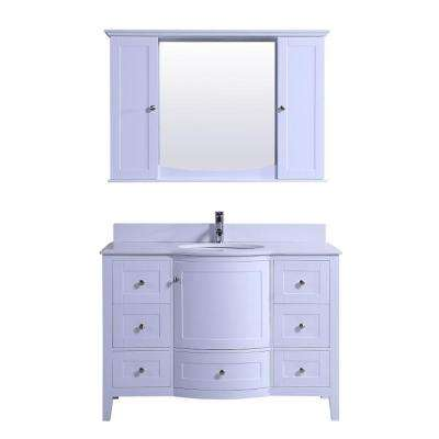 Hamon 47 in. W x 22 in. D Vanity in White with Quartz Vanity Top in White with White Round Basin and Mirror