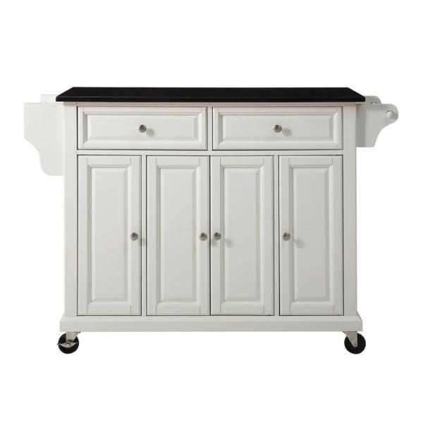 Full Size White Kitchen Cart with Black Granite Top