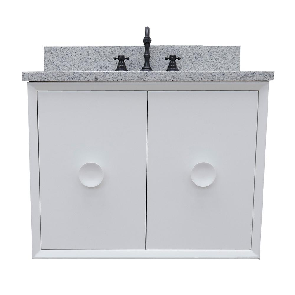Bellaterra Home Stora 31 in. W x 22 in. D Wall Mount Bath Vanity in White with Granite Vanity Top in Gray with White Rectangle Basin
