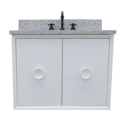 Stora 31 in. W x 22 in. D Wall Mount Bath Vanity in White with Granite Vanity Top in Gray with White Rectangle Basin
