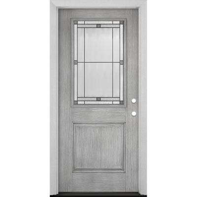 Everland Collection Customizable Fiberglass Prehung Front Door with Glass