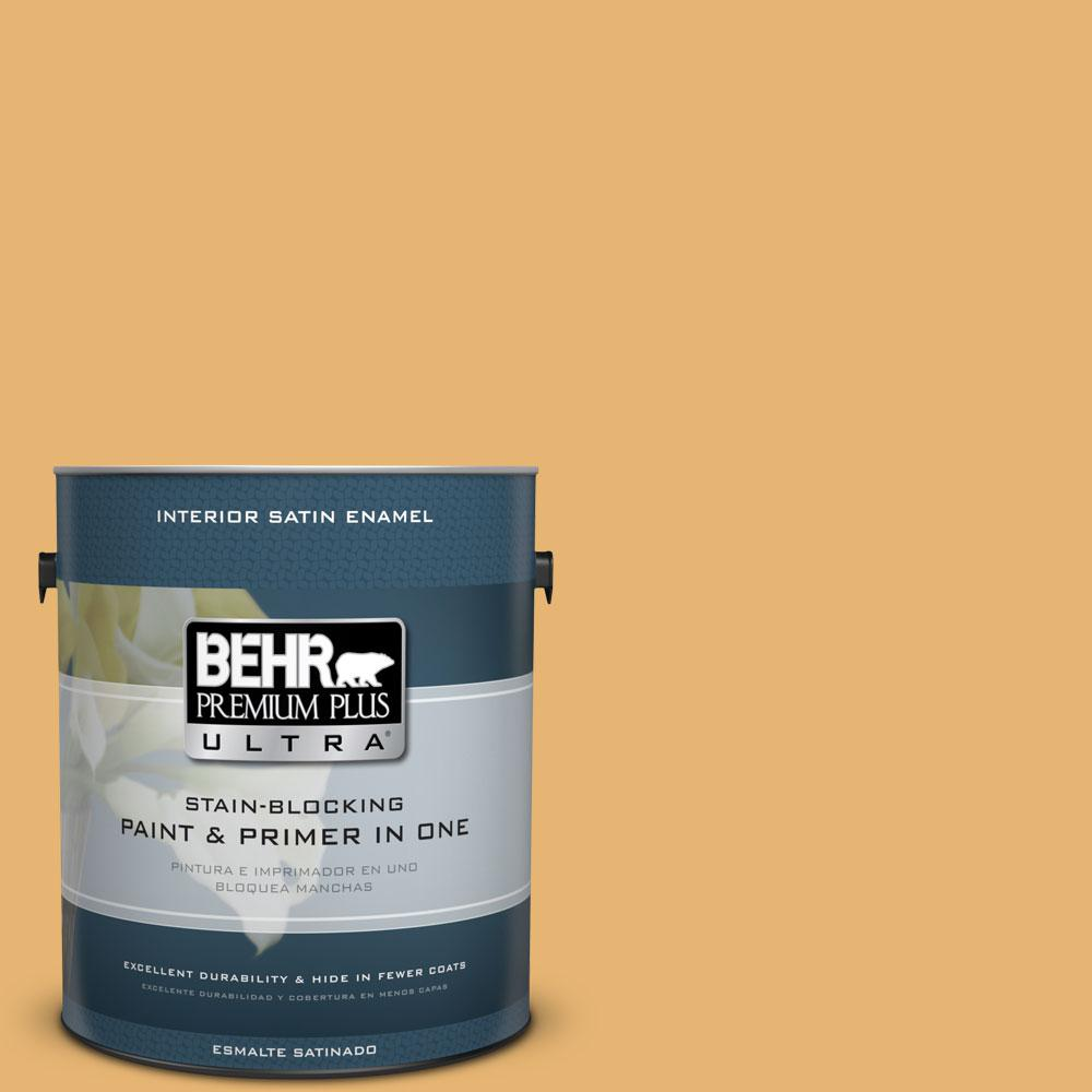 BEHR Premium Plus Ultra 1-Gal. #PPU6-4 Pyramid Gold Satin Enamel Interior Paint