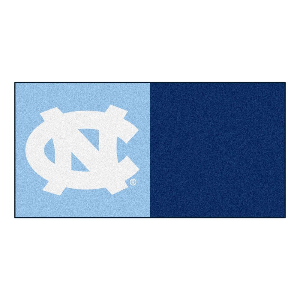 FANMATS NCAA - University of North Carolina - Chapel Hill Blue and Navy Blue Nylon 18 in. x 18 in. Carpet Tile (20 Tiles/Case)