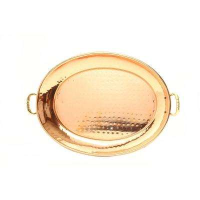 13.25 in. x 8.75 in. Oval Decor Copper Tray with Cast Brass Handles