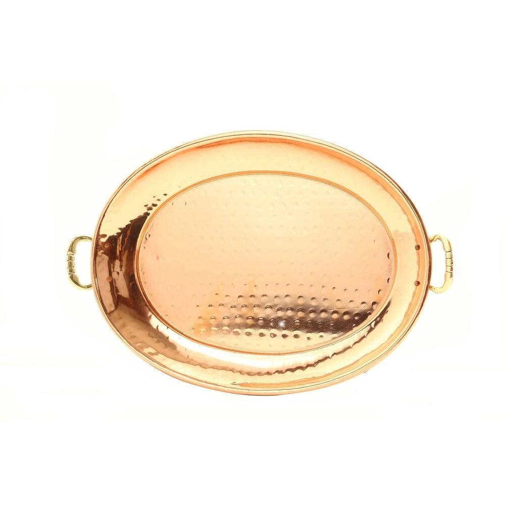 Old Dutch 13.25 in. x 8.75 in. Oval Decor Copper Tray with Cast Brass Handles