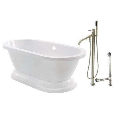 Pedestal 5.6 ft. Acrylic Flatbottom Bathtub in White and Floor-Mount Faucet Combo in Satin Nickel