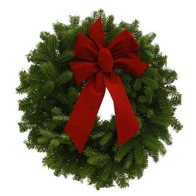 16 in. Balsam Fresh Mini Wreaths and Red Velvet Bow (4-Set) : Multiple Ship Weeks Available