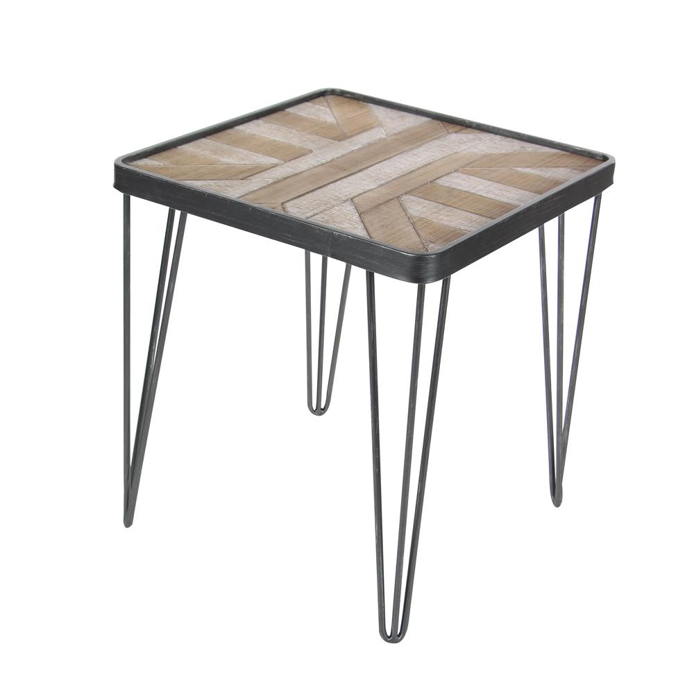 Black Iron and Brown Geometric-Patterned Wood Accent Table