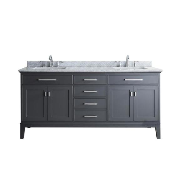 Danny 72 in. Double Sink Bath Vanity in Maple Gray with Marble Vanity Top in Carrara White with White Basins
