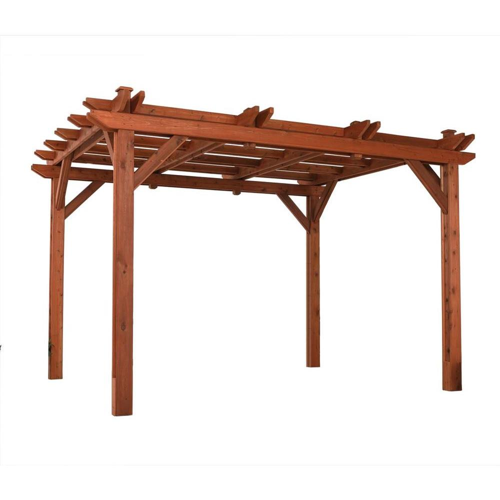 Handy Home Products Montego Bay Cedar 10 ft. x 12 ft. Pergola-DISCONTINUED