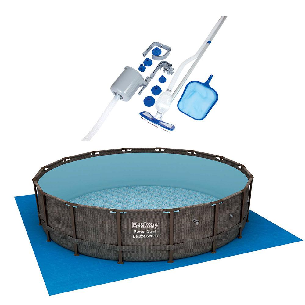 Bestway 16 ft. Round 48 in. Deep Power Steel Hard Side Swimming Pool Set  with Vacuum and Maintenance Kit