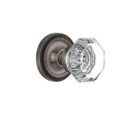 Rope Rosette 2-3/8 in. Backset Antique Pewter Privacy Bed/Bath Waldorf Crystal Door Knob