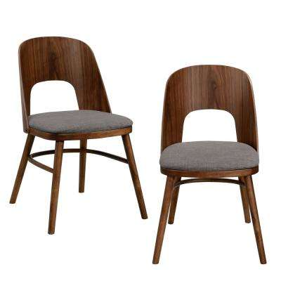 Georgetown Walnut Armless Dining Chair with Cut-Out Wood Back and Seat in Gray Linen (Set of 2)
