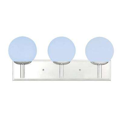 3-Light Chrome Bath Vanity Light with Frosted Globes Shades and Color Changing Smart LED Bulbs Included